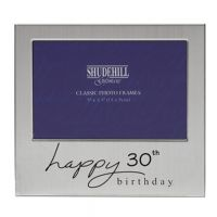 Happy Birthday Satin Silver Plated Photo Frame 30th